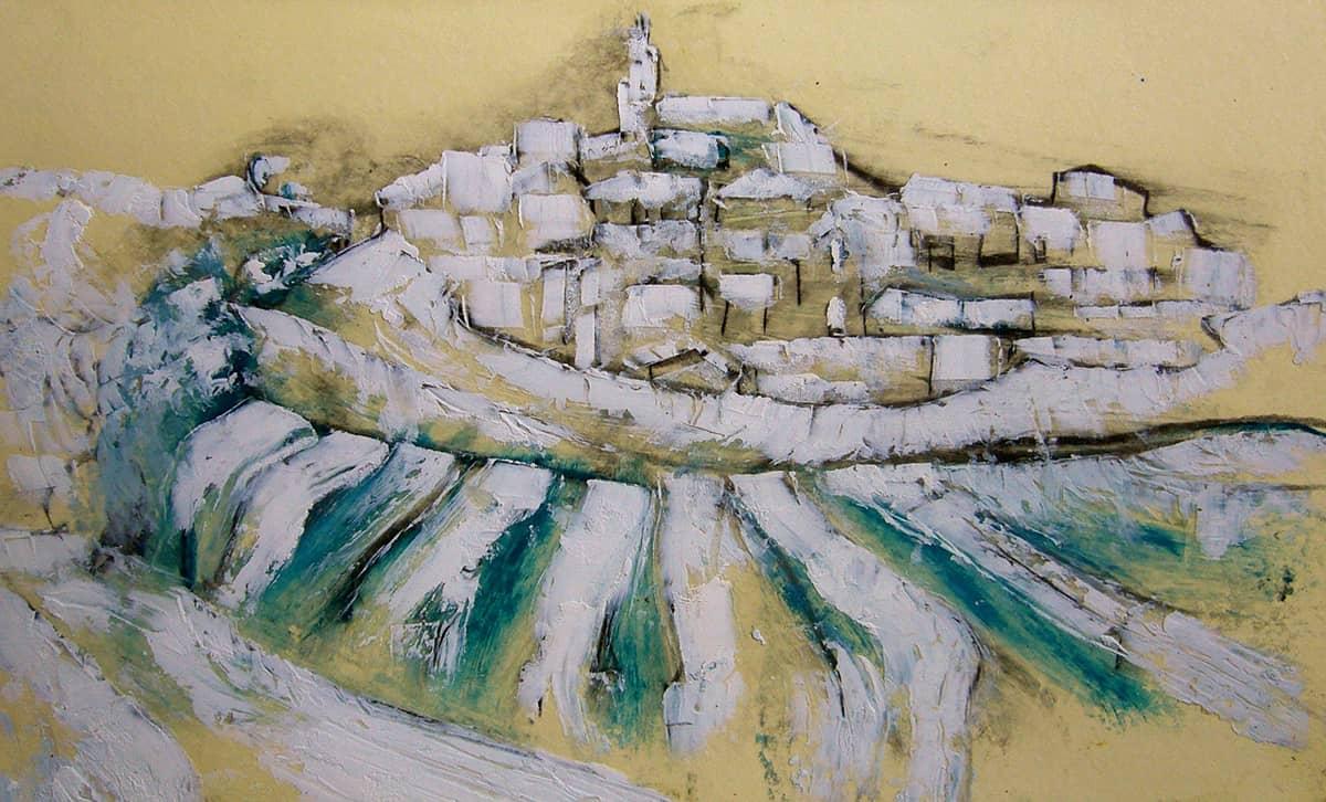 Camino de Santiago de Compostela No. 1 I Spain - 13 x 21 cm oil, oil pastels and pencil on paper, 2009
