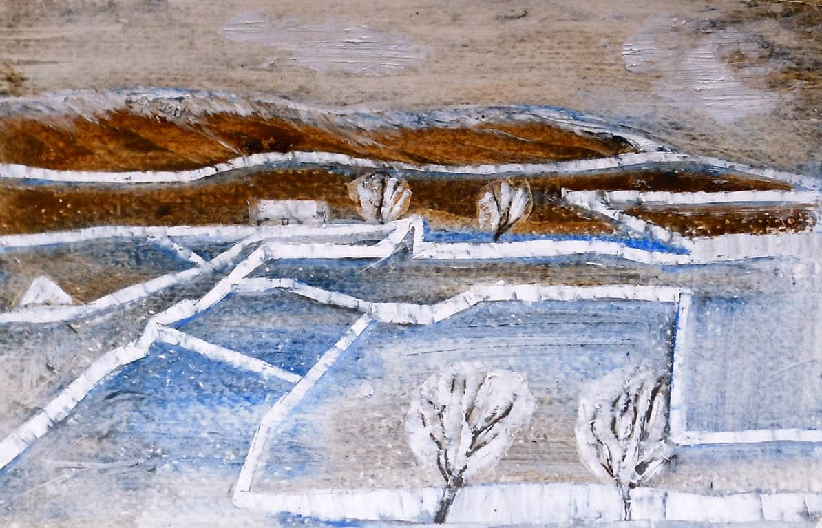 Yorkshire Dales No. 3 | U.K. - 13.5 x 20.5 cm oil pastels and oil on paper, 2011