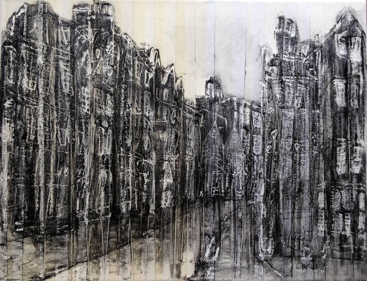 Trinity Street Cambridge - 30 x 40 cm mixed media on canvas, 2013