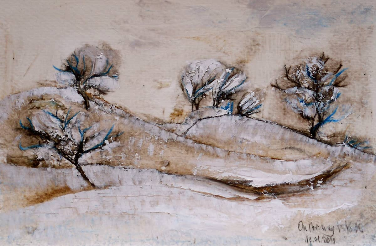 Yorkshire Dales No. 2 | U.K. - 13.5 x 20.5 cm oil pastels and oil on paper, 2011
