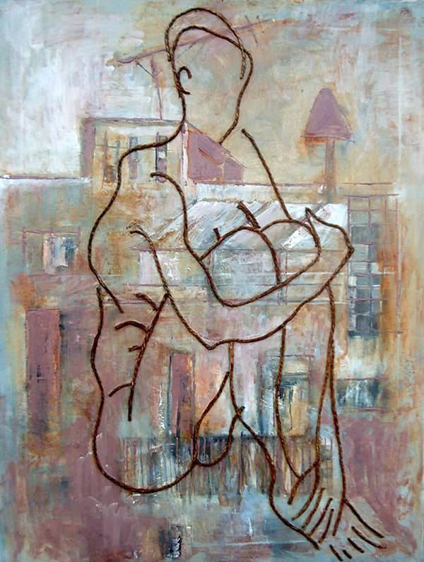 Nude No. 3 - 60 x 80 cm mixed media and encaustic on canvas, 2004