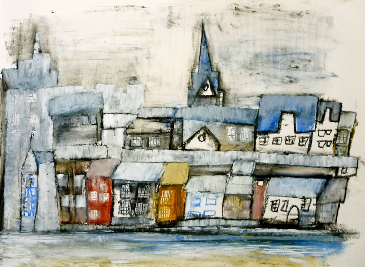 Flensburg I Germany - 22 x 30 cm mixed media and oil on paper, 2010