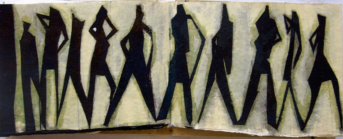 Standing Together - 10.5 x 15 cm mixed media on paper, 2008