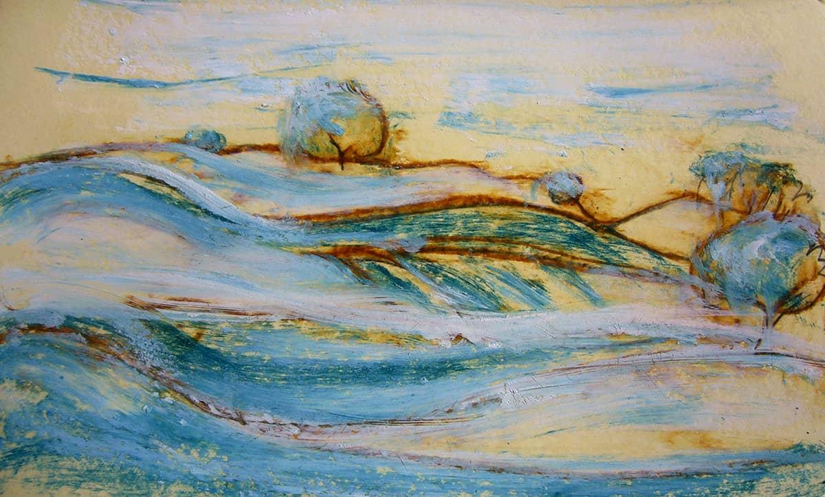 Camino de Santiago de Compostela No.2 | Spain - 13 x 21 cm oil, oil pastels and pencil on paper, 2009