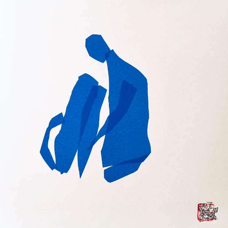Blue tape nudes 20 x 20 cm Blue tape on paper March 2018